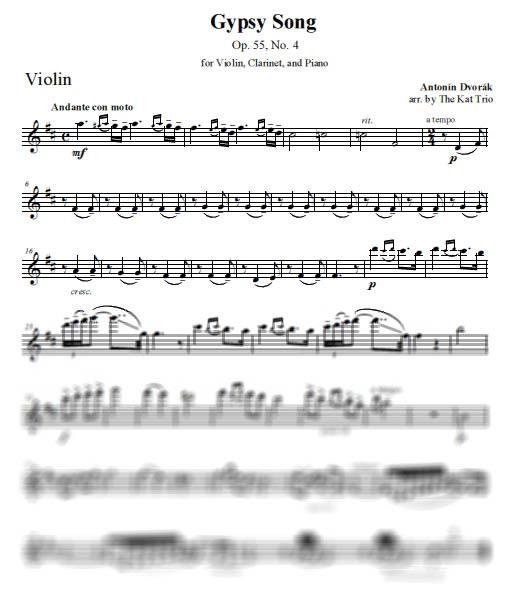 Dvorak Gypsy Song Violin Part
