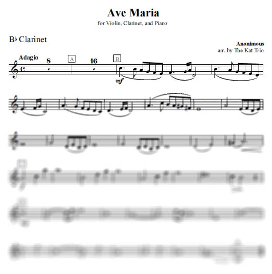 Vavilov Ave Maria - Clarinet