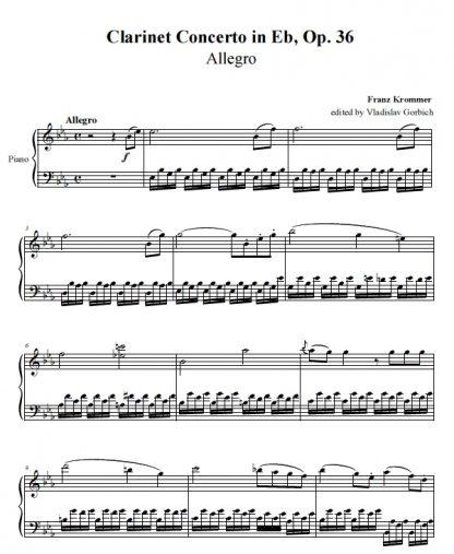 Krommer Clarinet Concerto Piano