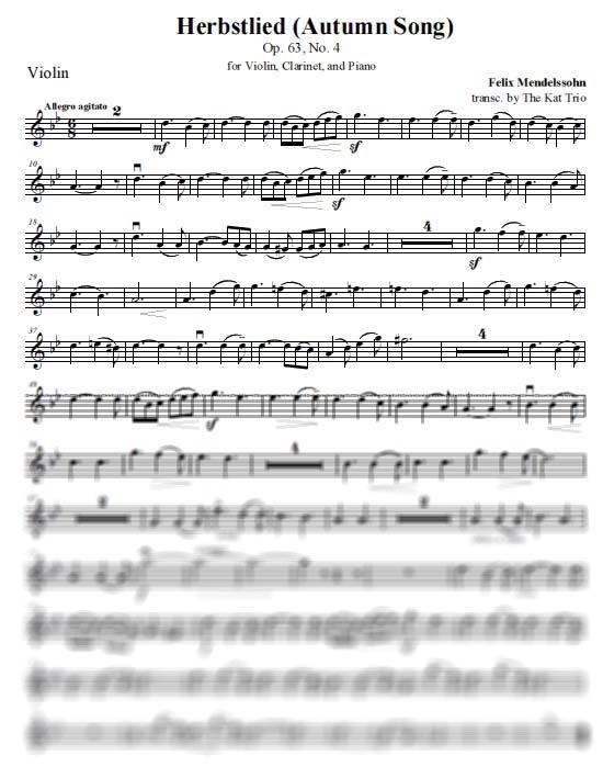 Mendelssohn Herbstlied Violin