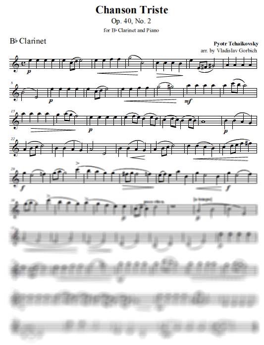 Tchaikovsky Chanson Triste - Clarinet