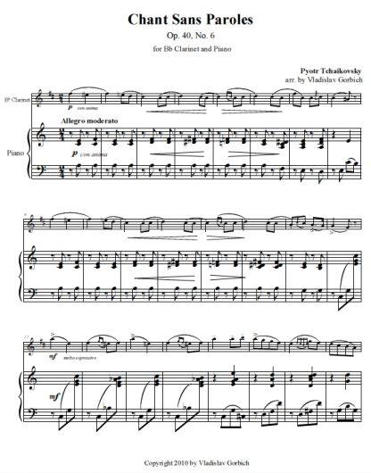 Tchaikovsky Chant Sans Paroles - Piano