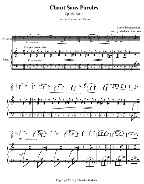Tchaikovsky Chant Sans Paroles - Piano