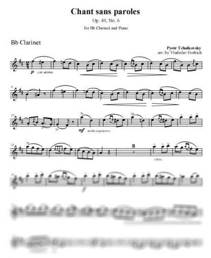 Tchaikovsky Chant Sans Paroles - Clarinet