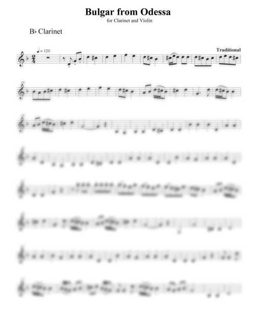 Bulgar from Odessa clarinet part